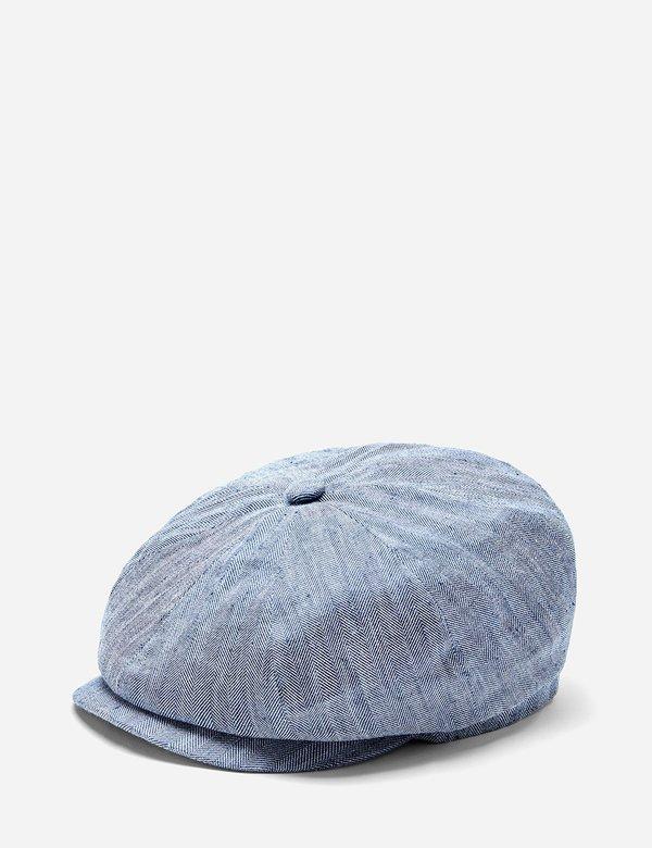 Stetson Hatteras Fine Herringbone Flat Cap - Indigo Blue