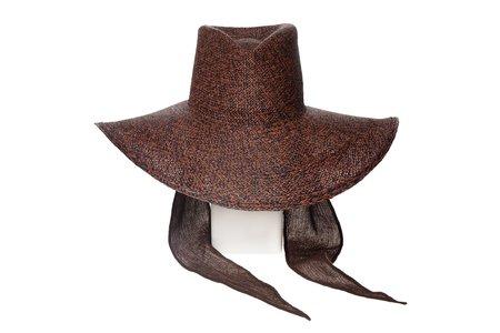 Clyde Pinch Panama Hat - rust/black