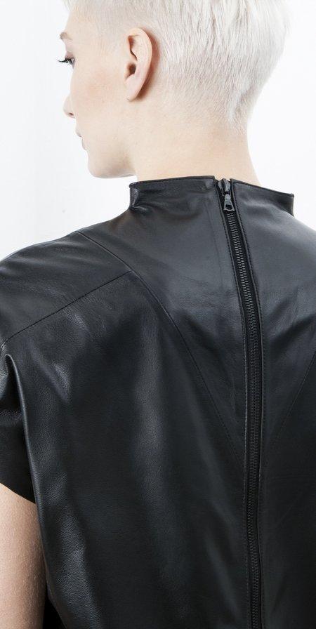 SCHAI Geo Leather Dress - Malachite Tonal