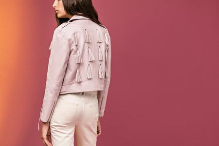 House of Matching Colors - KIM LEATHER JACKET - pink