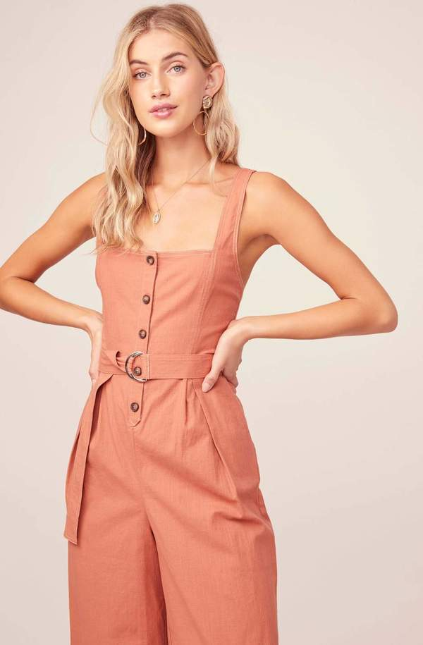 ASTR The Label Belted Warwick Jumpsuit - Clay