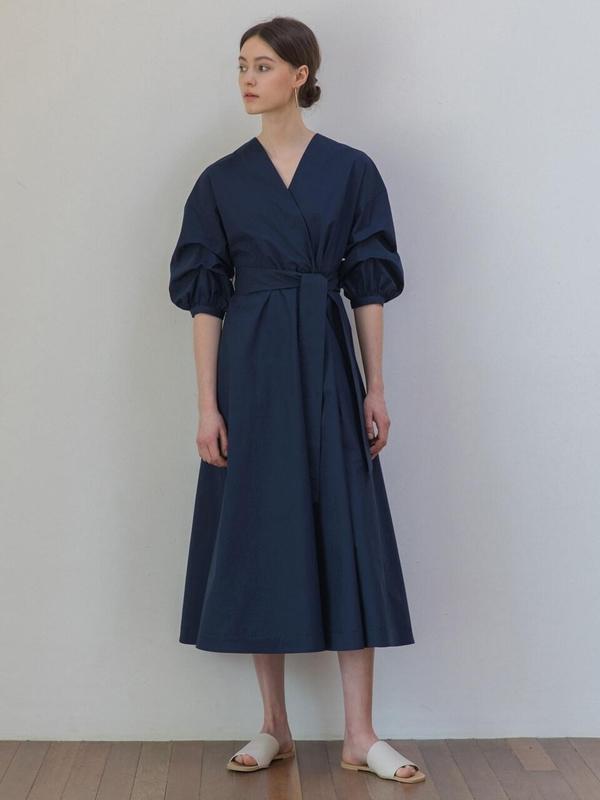 f978bf073 REFINED902 Gathered Sleeve Cotton Dress - Navy | Garmentory