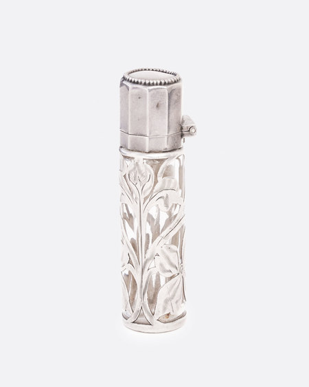 Love Adorned Vintage Silver and Glass Perfume Bottle