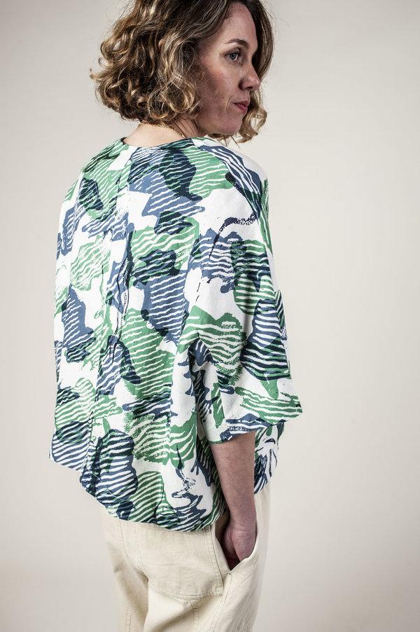 Kloke Spray Tie Top - Paprika/Steel Print