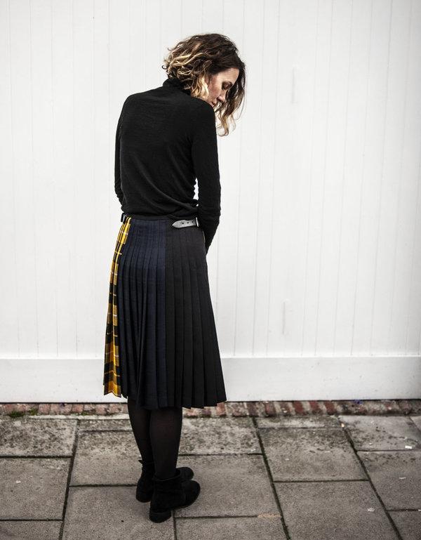 Le Kilt Mixed Tartan Kilt - Yellow/Navy/Black