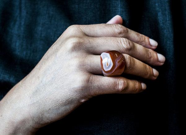 F O L D Agate Bulb ring - Brown
