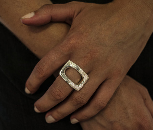 F O L D Rectangle Ring - Sterling Silver