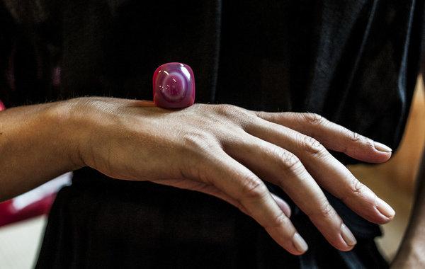 F O L D Cerise Agate Ring - Pink
