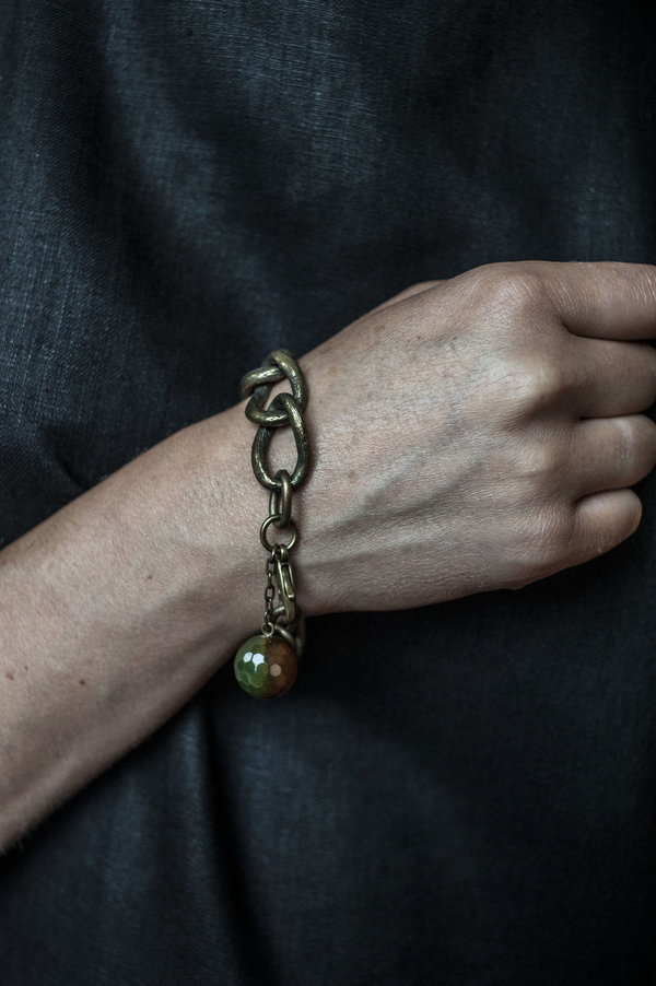 Vintage Pendant Bracelet - Solid Brass/Agate
