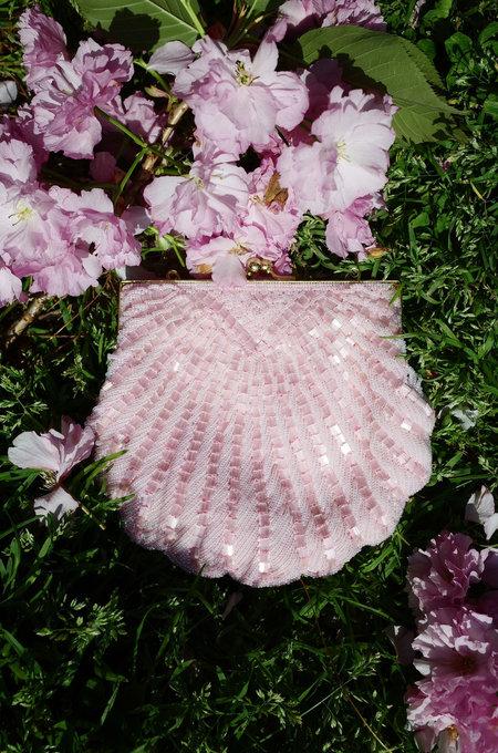 Vintage Beaded Seashell Bag - Pink