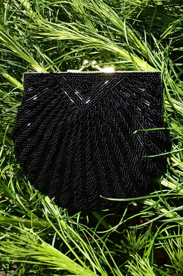 Vintage Beaded Seashell Bag - Black