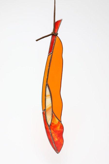 Colin Adrian Diamond Eye Feather - Dark Orange/Red