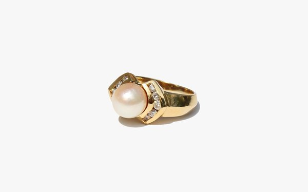 Kindred Black Deco Pearl and Diamond Ring - 14k Gold