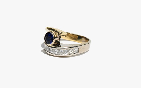 Kindred Black Two Tone Ring - Diamond/Sapphire