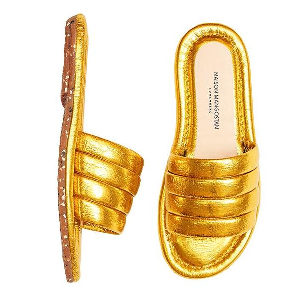 KIDS Maison Mangostan Marmelo Sandal - Metallic Faux Leather Yellow
