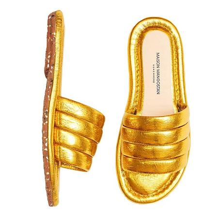 KIDS Maison Mangostan Marmelo Sandal - Metallic Faux Leather Yellow