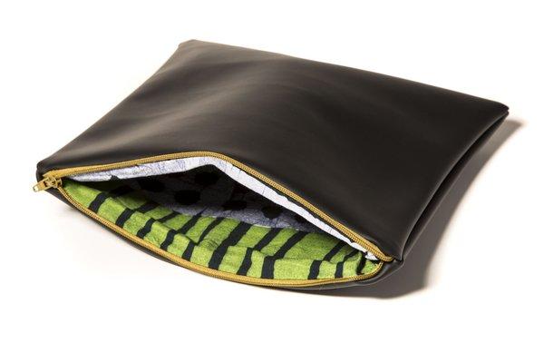 Fashion Rising Collection Vegan Leather Hand-Batik Medium Carry All - Black/Green Aggie Print