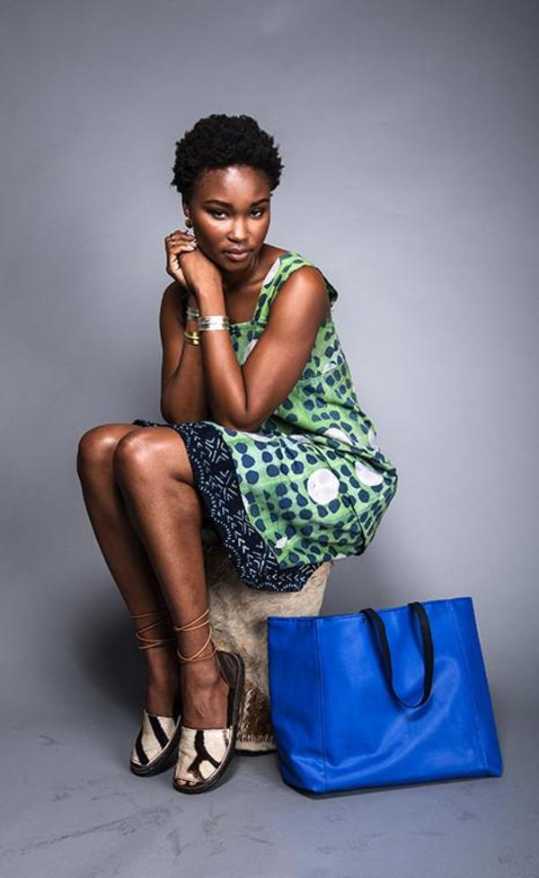 Fashion Rising Collection Ralph Hand Batik Cotton Twill Bogolanfini Trim Day Dress - Green