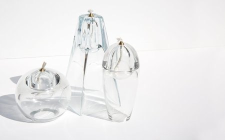 Vintage Oil Candle Trio - Clear Glass