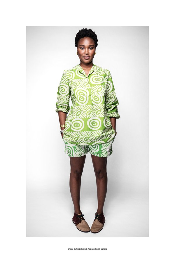 Studio One Eighty Nine Hand-Batik Cotton Twill High Waisted Shorts - Lime/ODLR Print