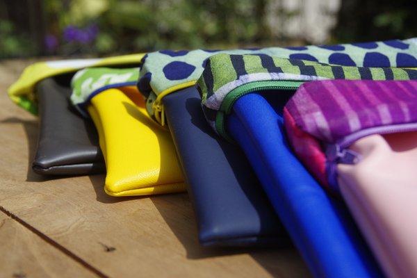 Fashion Rising Collection Vegan Leather Print Hand Batik Medium Carry-All - Violet/Pink Stripe