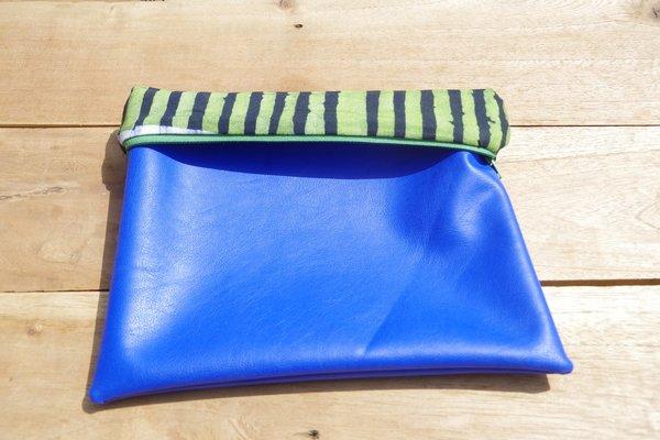 Fashion Rising Collection Vegan Leather Print Lining Hand Batik Medium Carry-All - Royal Blue/Green Aggie