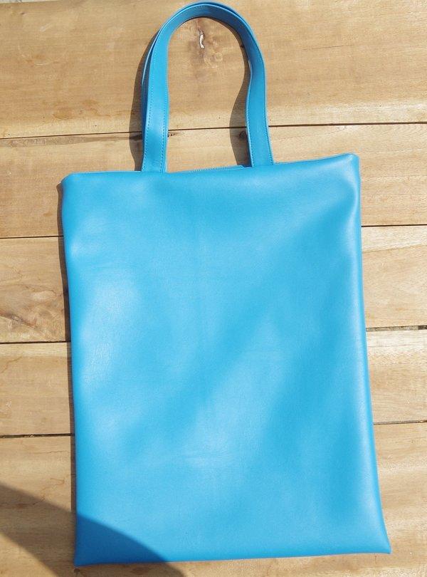 Fashion Rising Collection Vegan Leather Hand Batik Shopper - Turquoise/Green Aggie Print