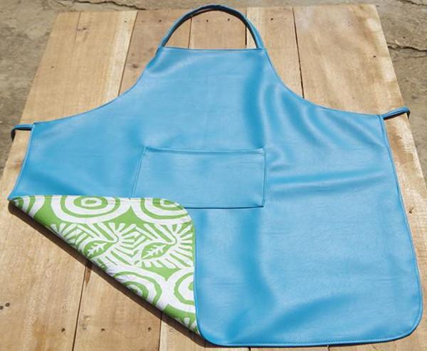 Fashion Rising Collection Vegan Leather ODLR Print Lining Hand Batik Long Apron - Turquoise