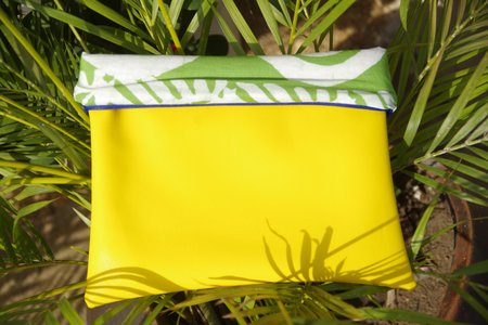 Fashion Rising Collection Vegan Leather Hand Batik Medium Carry All - Yellow/Lime ODLR Print