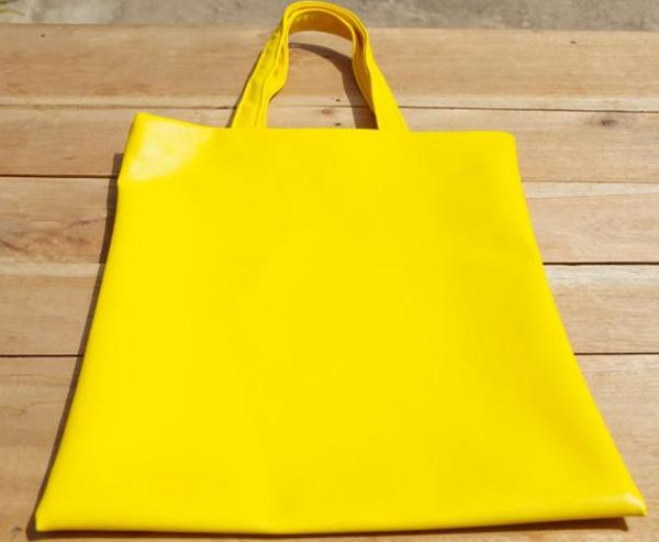 Fashion Rising Collection Vegan Leather Hand Batik Shopper - Yellow/Lime ODLR Print