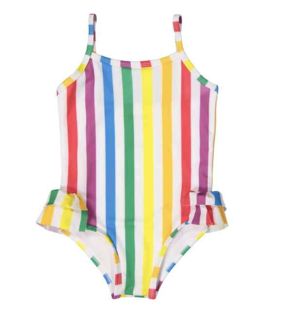 d06d0ff4a6 Kids Hugo Loves Tiki Ruffle Swimsuit - Rainbow Stripe | Garmentory
