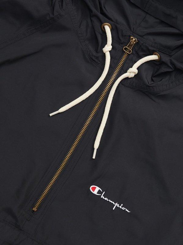 Champion Premium Reverse Weave Half Zip Hooded Jacket - Black