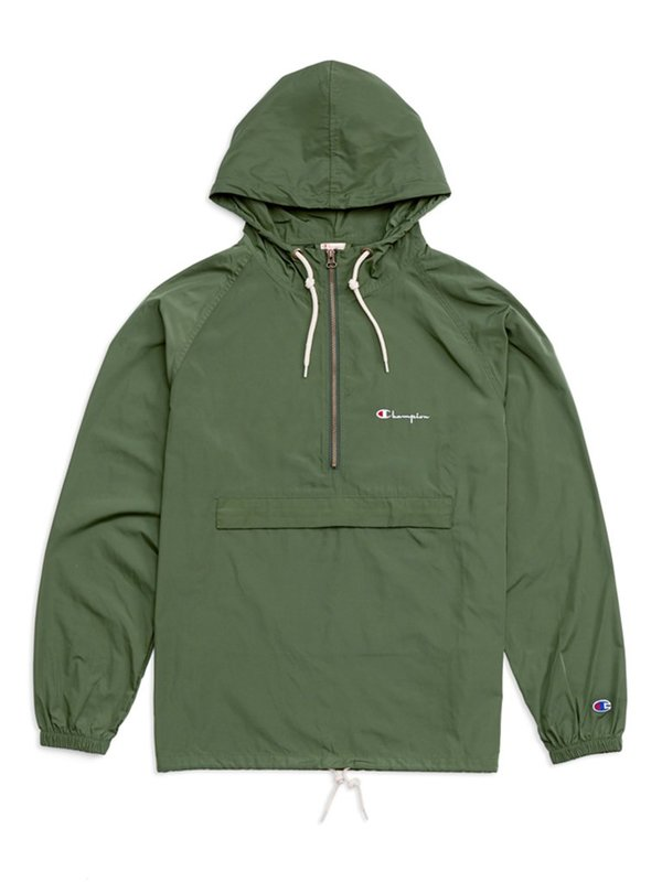 Champion Premium Reverse Weave Half Zip Hooded Jacket - Deep Pine Green