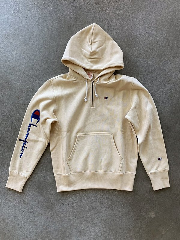 Champion Half Zip Reverse Weave Logo Hoodie Wheat on Garmentory