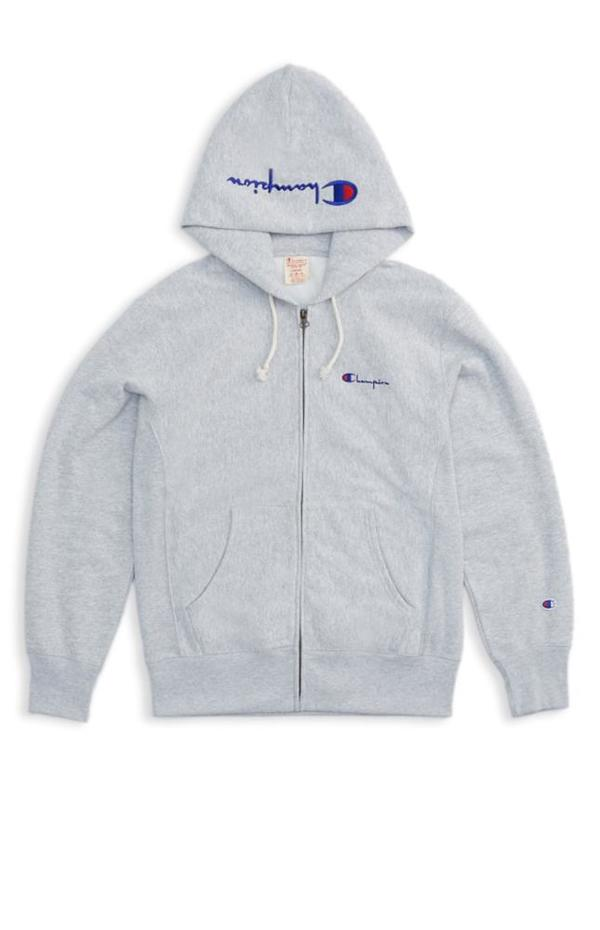 Champion Premium Reverse Weave Hooded Zip Sweatshirt , Grey on Garmentory