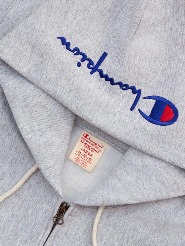 Champion Premium Reverse Weave Hooded Zip Sweatshirt - Grey