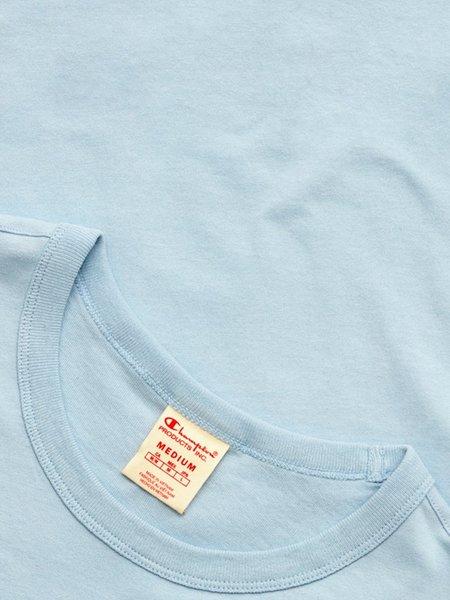 Champion Premium Reverse Weave Seersucker Script Logo Crew Neck T-Shirt - Cornflower Teal
