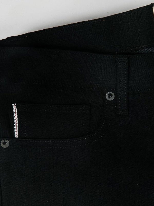 KATO The Pen Slim Raw Stretch Selvedge Jeans - Black
