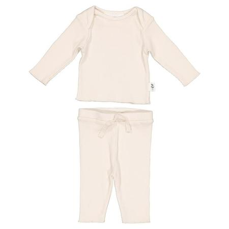 Kids Moumout Paris Baby Long Sleeved T-shirt And Leggings Two Piece Set Twins - Milk White