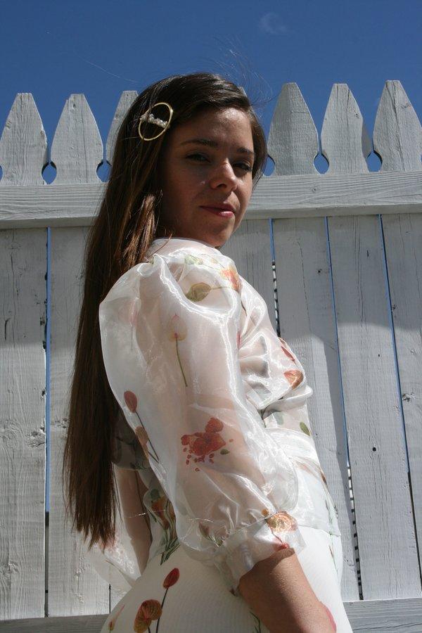 Aéryne Agathe Organza Floral Print Wrap Top - White Fleures Sauvage