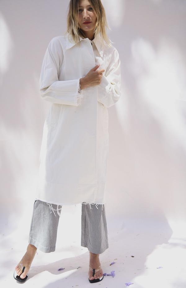 Clean Studios Denim Trench Coat - White