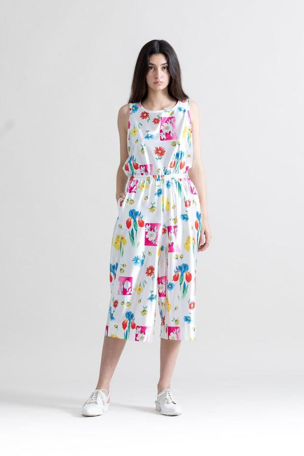 Toit Volant Vintage Satin Jersey Pants - Floral Print