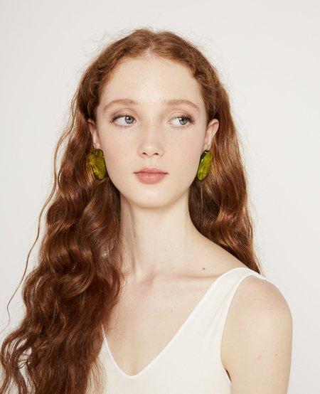 Julie Thévenot Small Reflection Earrings - Chartreuse