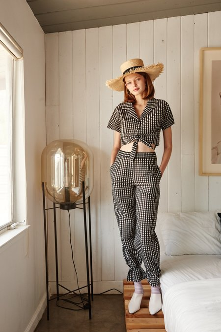 NIKA TANG Kelly Pants - Dark Navy Gingham