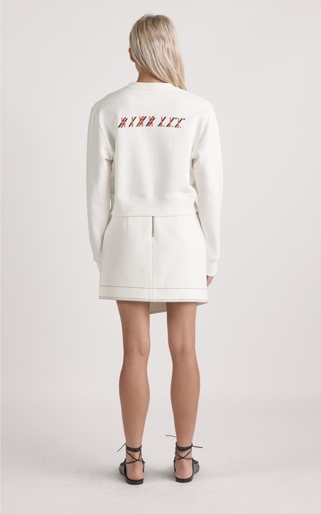 Dion Lee Cropped Logo Sweatshirt - Ivory