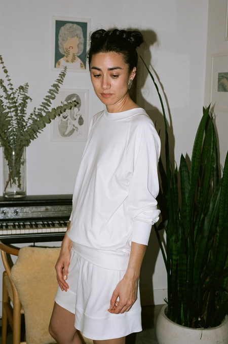 Suzanne Rae Raglan Sweatshirt with Crest - White