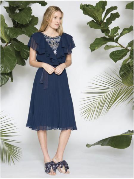 Caballero Liz Dress w/ Silk Thread Embroidery - Midnight Navy
