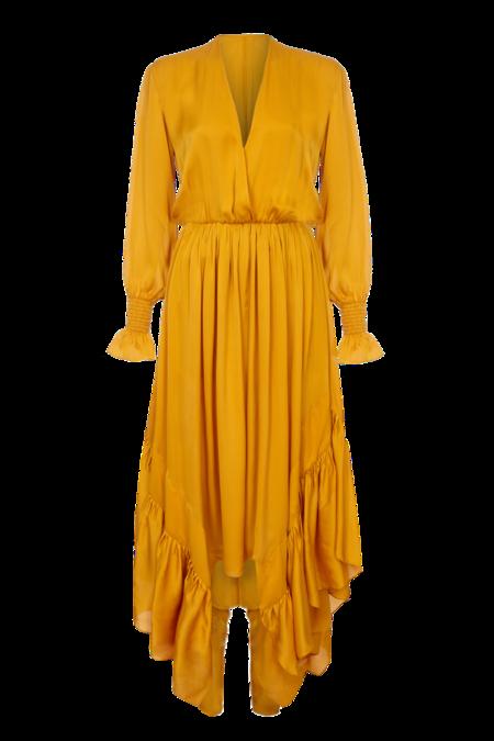 Arje Indira Oriental Silk Ruffle Dress - Saffron