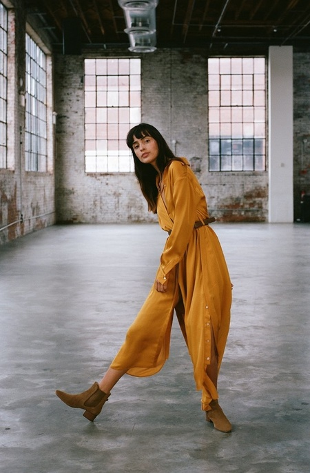 Arje Drea Oriental Long Shirt Dress - Saffron