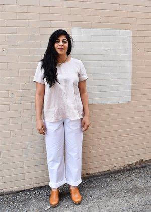 Iris Denim Borderline Pants - White